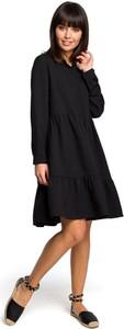 Czarna sukienka Merg w stylu casual oversize z długim rękawem