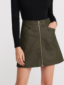 Brązowa spódnica Reserved ze skóry mini