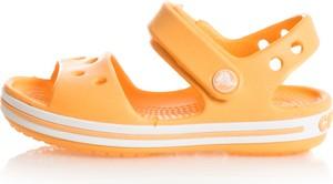Pomarańczowe buty dziecięce letnie Crocs na rzepy dla dziewczynek