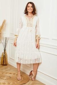 Sukienka Curvy Lady z okrągłym dekoltem midi z długim rękawem