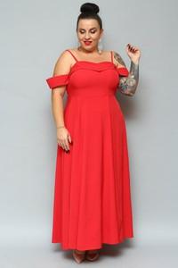 Sukienka KARKO dla puszystych z dekoltem w kształcie litery v z krótkim rękawem