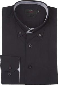 Granatowa koszula Aldo Vrandi z długim rękawem z bawełny