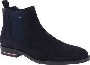 Granatowe buty zimowe Tommy Hilfiger ze skóry