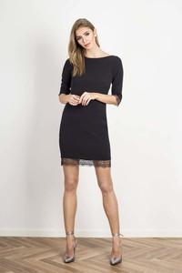 Granatowa sukienka Wow Point w stylu casual z długim rękawem