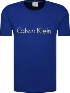 Niebieski t-shirt Calvin Klein Underwear w młodzieżowym stylu z krótkim rękawem