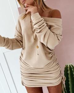 Sukienka Kendallme z długim rękawem z dekoltem w kształcie litery v w stylu casual
