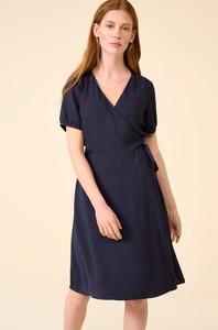 Granatowa sukienka ORSAY z krótkim rękawem z dekoltem w kształcie litery v