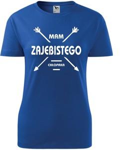 T-shirt TopKoszulki.pl z okrągłym dekoltem w sportowym stylu z krótkim rękawem