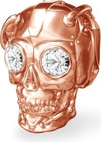 GIORRE Srebrny koralik zawieszka charms CZASZKA robot z kryształami Swarovskiego srebro 925 : Kolor pokrycia srebra - Pokrycie Różowym 18K Złotem