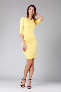 Żółta sukienka Nommo z okrągłym dekoltem