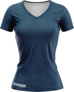 Niebieski t-shirt Vision Wear Sport z dekoltem w kształcie litery v z krótkim rękawem z tkaniny