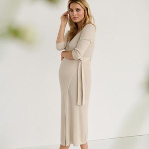 Reserved - Kopertowa sukienka z prążkowanej dzianiny - Beżowy