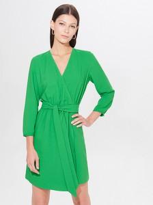 Zielona sukienka Mohito mini kopertowa z długim rękawem