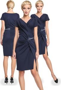 Niebieska sukienka Camill Fashion midi z krótkim rękawem z dekoltem w kształcie litery v