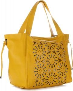 Żółta torebka GENUINE LEATHER duża