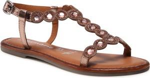Sandały Tamaris z płaską podeszwą z klamrami ze skóry