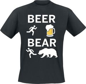 Granatowy t-shirt Beer - Bear z bawełny z nadrukiem z krótkim rękawem