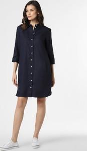 Granatowa sukienka Apriori mini z lnu z kołnierzykiem