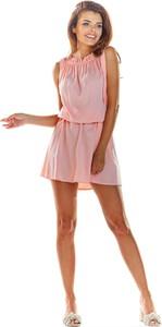 Różowa sukienka Awama bez rękawów mini z golfem
