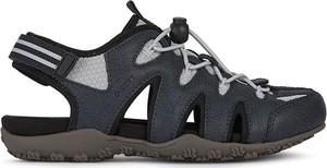 Czarne sandały Geox ze skóry z płaską podeszwą sznurowane