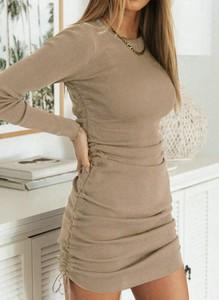 Brązowa sukienka Cikelly w stylu casual dopasowana z długim rękawem