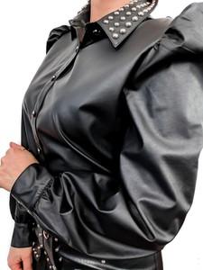 Czarna koszula fagobutik.pl ze skóry ekologicznej