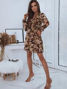 Brązowa sukienka Dstreet mini w stylu casual z długim rękawem