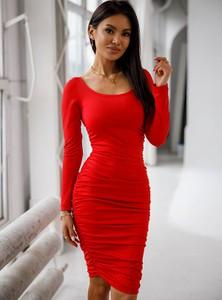 Czerwona sukienka SELFIEROOM w stylu casual dopasowana