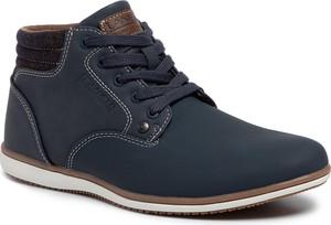 Niebieskie buty zimowe Lanetti sznurowane