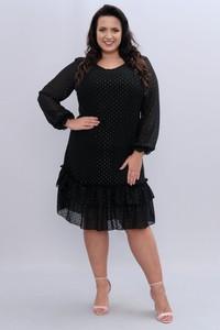 Sukienka KARKO z szyfonu z okrągłym dekoltem