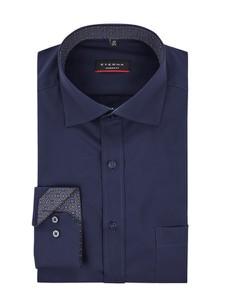 Granatowa koszula Eterna z klasycznym kołnierzykiem z krótkim rękawem