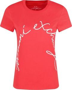 Czerwony t-shirt Armani Jeans w stylu casual z krótkim rękawem