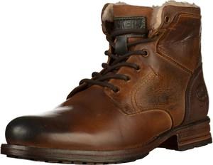 Brązowe buty zimowe Dockers ze skóry sznurowane