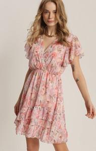 Różowa sukienka Renee z dekoltem w kształcie litery v mini