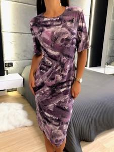 Fioletowa sukienka ModnaKiecka.pl z długim rękawem w stylu casual prosta