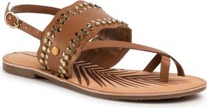 Brązowe sandały Pepe Jeans ze skóry z płaską podeszwą z klamrami