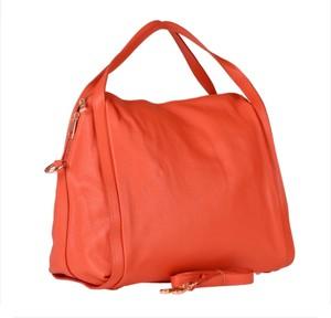 Pomarańczowa torebka Real Leather ze skóry duża matowa