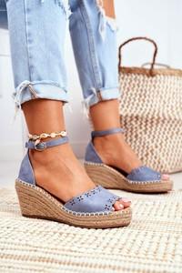Niebieskie sandały Eve z klamrami z tkaniny