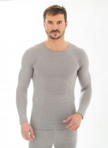 Koszulka męska długi rękaw Brubeck Comfort Wool LS11600 szara jasna