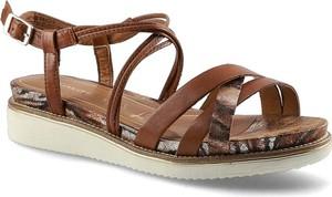 Brązowe sandały Tamaris ze skóry w stylu casual