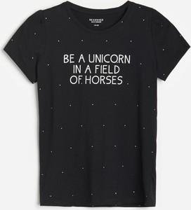 Czarna koszulka dziecięca Reserved dla dziewczynek