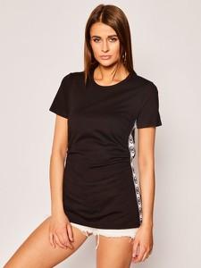 Czarny t-shirt Michael Kors z okrągłym dekoltem w stylu casual