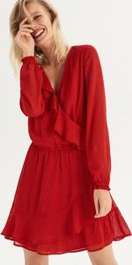 Czerwona sukienka Sinsay w stylu boho kopertowa z długim rękawem