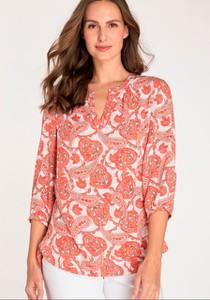 Koszula Olsen z okrągłym dekoltem w stylu casual z długim rękawem