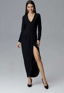 Sukienka Figl z dekoltem w kształcie litery v z długim rękawem