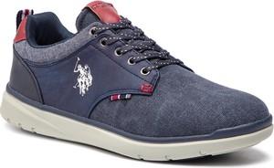 Niebieskie buty sportowe U.S. Polo ze skóry ekologicznej sznurowane
