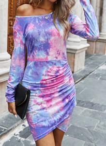 Sukienka Cikelly z okrągłym dekoltem dopasowana w stylu casual
