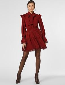 Czerwona sukienka NA-KD w stylu boho z długim rękawem z żabotem