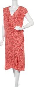Czerwona sukienka Boho Bird z dekoltem w kształcie litery v z krótkim rękawem