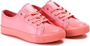 Różowe trampki dziecięce Royalfashion.pl dla dziewczynek sznurowane